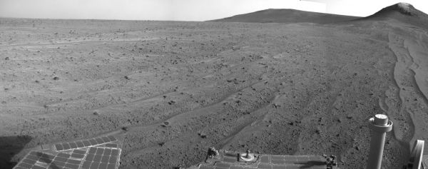 Opportunity's Rear Facing View Ahead After A Drive
