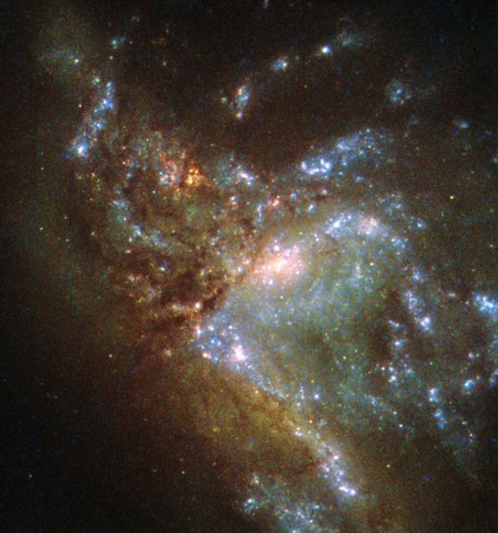 Hubble Views Two Galaxies Merging