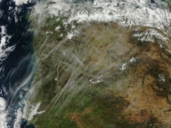 Contrails over Portugal and Spain