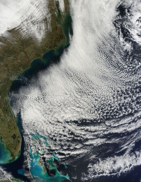 Cloud streets off the southeastern United States