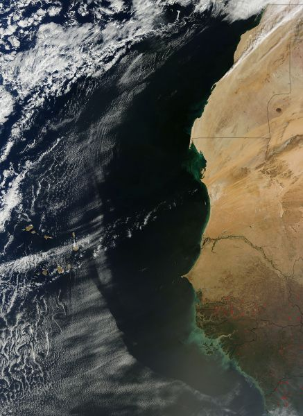 Cloud patterns off West Africa
