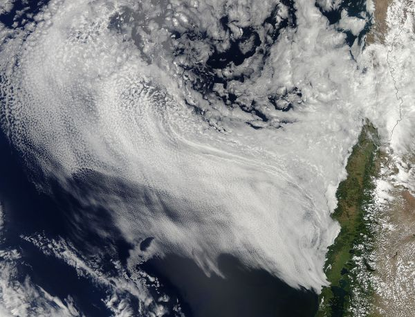Cloud patterns off the coast of Chile