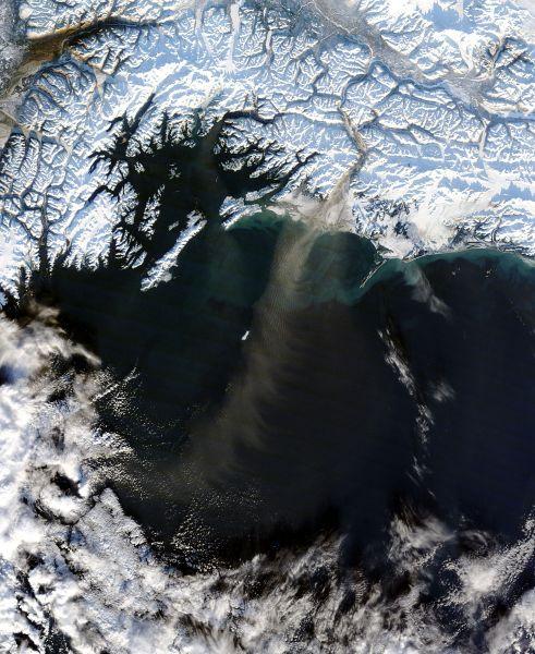 Dust storm off Alaska