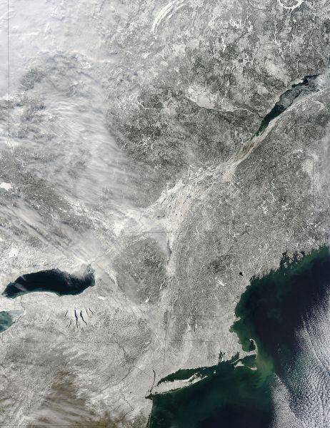 Snow across northeastern United States