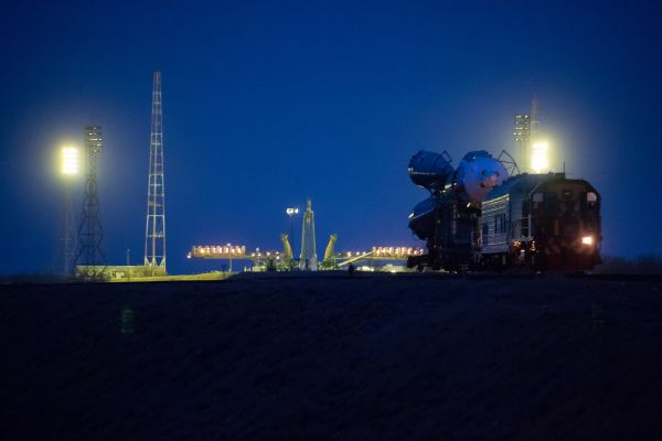 Expedition 47 Soyuz Rolls Out in Preparation for Launch