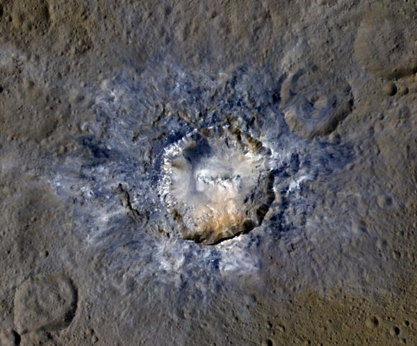 Ceres: Haulani Crater In Enhanced Color