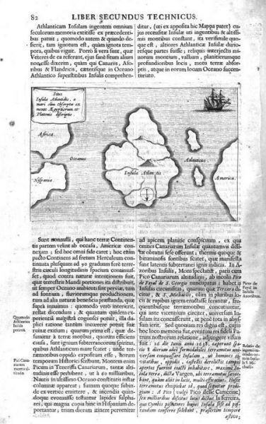 Map of 'Atlantis' from Mundus subterreaneas by Kircher