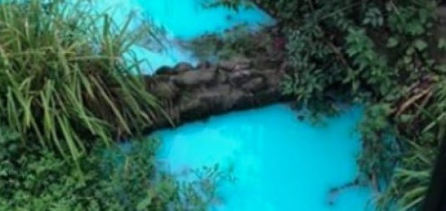 'Pollution incident' turns river bright blue News-blue-water
