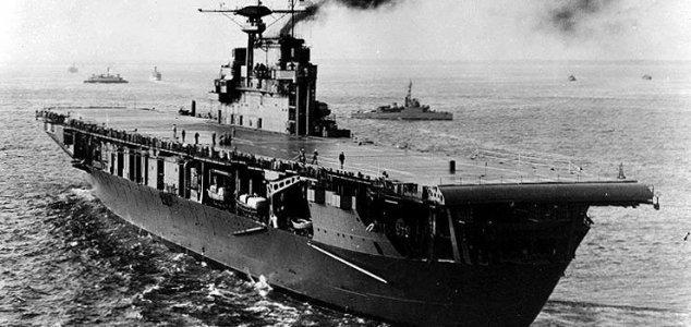 USS Hornet wreck located on the sea floor