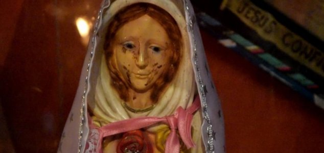 virgin mary statue cries tears of blood unexplained mysteries